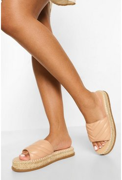 Nude Quilted Espadrille Mule