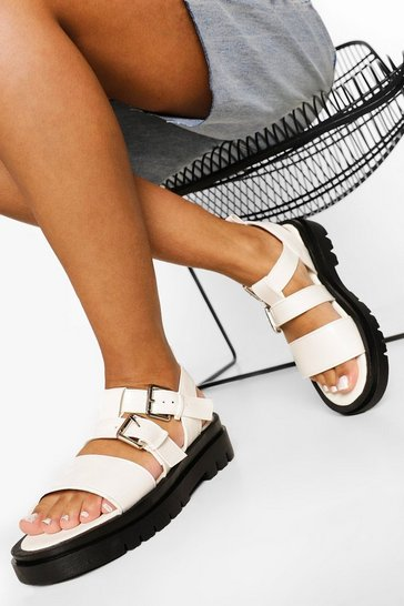 White Double Strap Buckle Sporty Dad Sandals