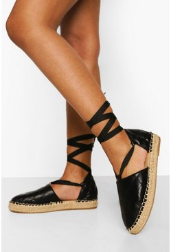 Black svart Quilted Wrap Up Espadrille