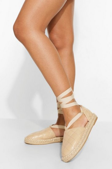 Nude Quilted Wrap Up Espadrille