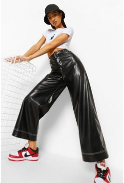 White Contrast Stitch Leather Look Trouser