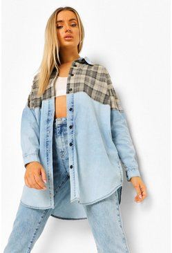 Light blue blå Oversize jeansskjorta med rutig panel