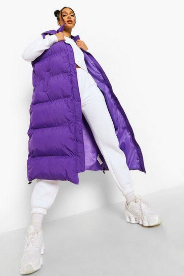 Purple Longline Padded Gilet