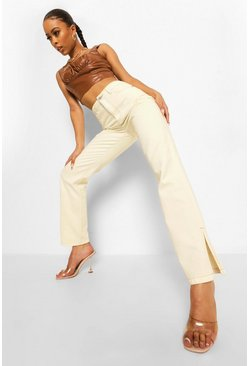 White Contrast Stitch Split Hem Straight Leg Jean