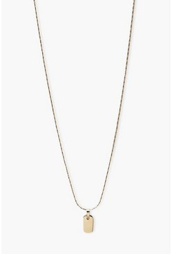 Gold metallic Tag Necklace