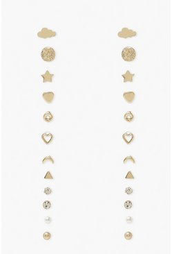 Gold metallic Heart In The Clouds Stud 12 Pack