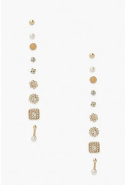Gold metallic Mix Diamante Earring Pack