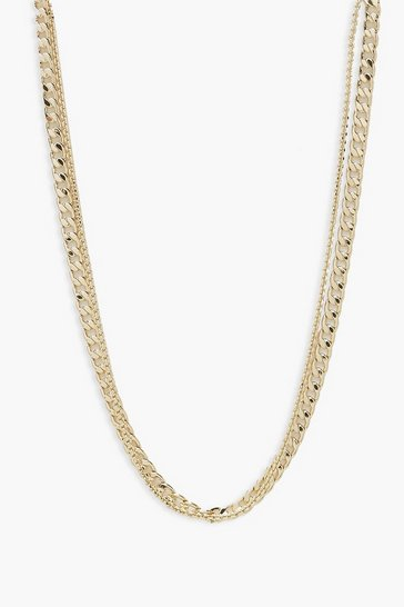 Gold metallic Layered Curb Chain