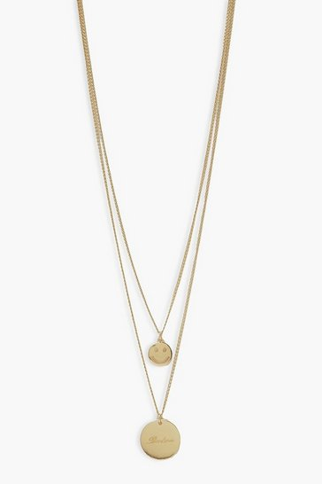 Gold metallic Happiness Layered Necklace