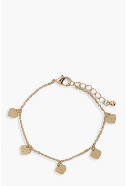 Gold metallic Mini Heart Lockets Bracelet