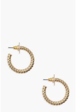 Gold metallic Twist Mini Simple Hoops