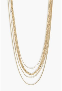 Gold metallic Multi Chain Necklace Pack