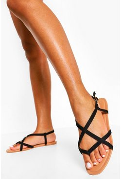 Black Wide Fit  Toe Post Basic Strappy Sandal