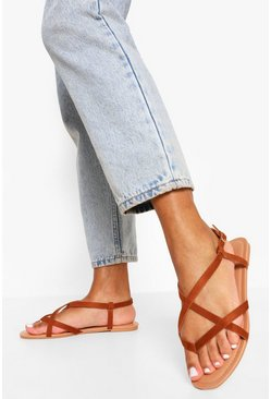 Tan brown Wide Fit  Toe Post Basic Strappy Sandal