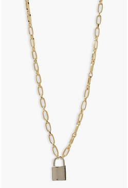Gold metallic Two Tone Padlock Necklace