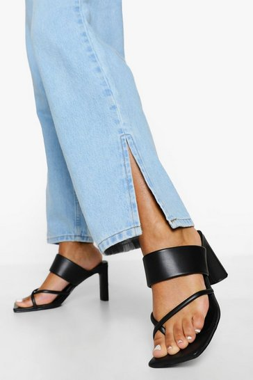Black Strappy Toe Post Mule