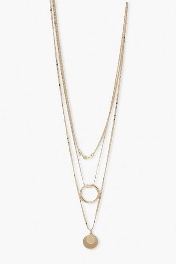 Gold metallic Double Coin Layered Necklace