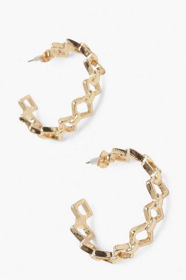 Gold metallic Diamond Link Earrings