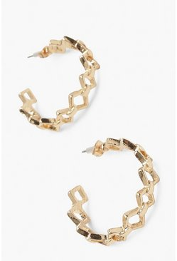 Gold metallic Diamond Link Earrings