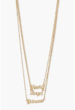 Slogan Layered Necklace, Gold métallique