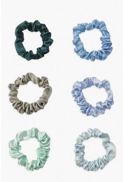 Blue Satin Super Slim Scrunchie 6 Pack