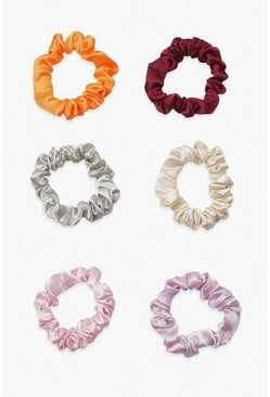 Pink Satin Super Slim Scrunchie 6 Pack