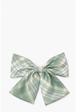 Green Check Bow Hair Clip