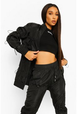 Black Bungy Cord Detail Bomber Jacket