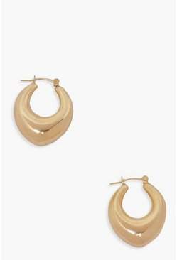 Gold metallic Chunky Tear Drop Hoop Earring