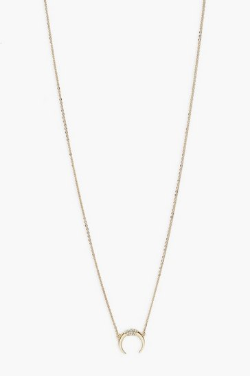 Gold metallic Single Horn Pedant Necklace