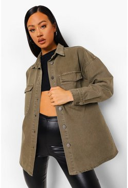 Washed khaki khaki Washed Pocket Denim Oversized Shirt