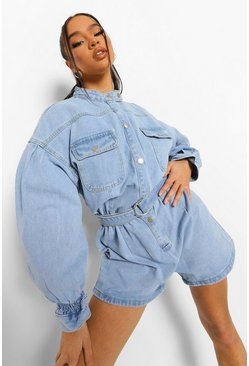 Light blue blue Denim Playsuit Met Utility Zakken