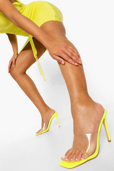 Lime green Clear Square Toe Mule