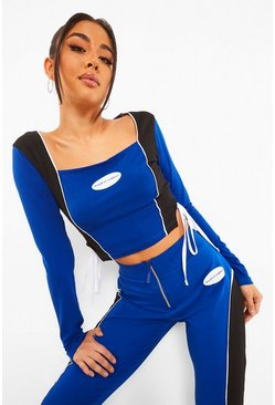 Crop top color block, Blue bleu