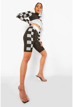 Black Seamless Motorcross Cycle Short