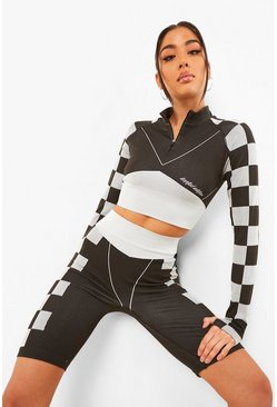 Black Seamless Motorcross Zip Up Top