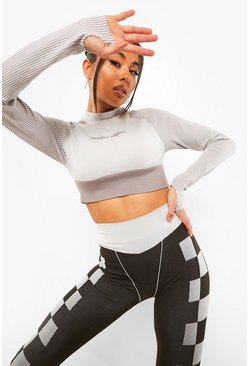 Grey Seamless High Neck Crop Top