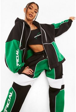Green Colour Block Oversized Zip Through Hoodie