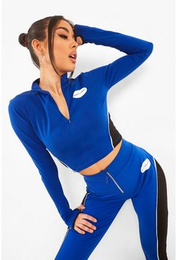 Blue High Neck Colour Block Detail Crop Top