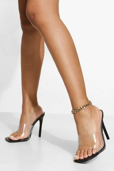 Black Wide Fit Clear Square Toe Mule