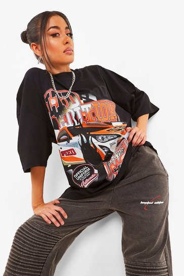 Black Oversized T-shirt With Front And Back Graphic
