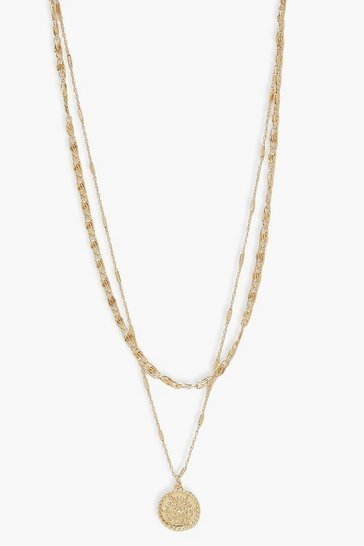 Gold metallic Layered Textured Coin Necklace