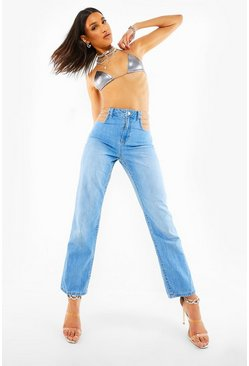 Light blue blue Chain Waist Detail Straight Leg Jeans