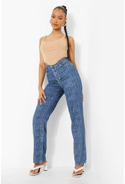 Mid blue High Waist Printed Boyfriend Jeans