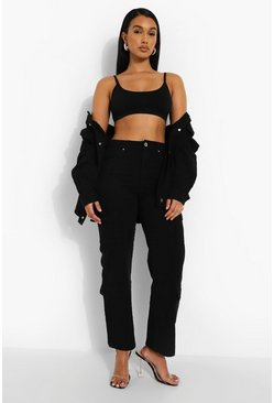 Washed black Mid Rise Utility Pocket Boyfriend Jeans