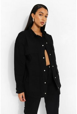 Washed black Oversized Utility Pocket Denim Overshirt