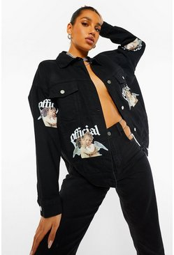 Washed black Oversized Cherub Print Denim Jacket