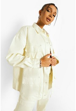 Ecru white Overszied Utility Denim Pocket Overshirt