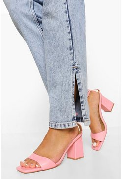 Pink 2 Part Block Heel Sandal
