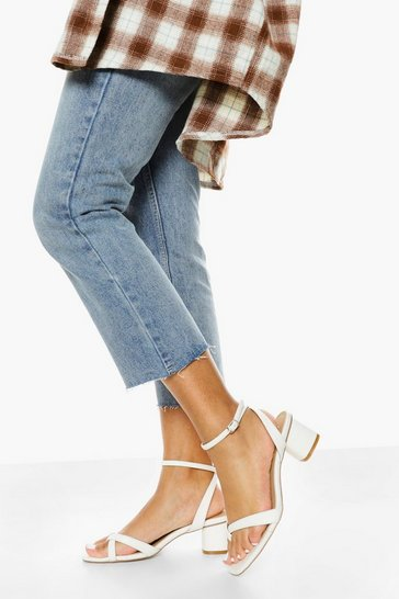White Multi Strap Low Block Heel Sandal